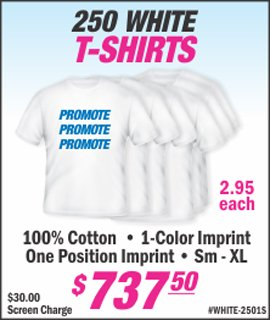 white t shirt special with corporate business logo only at lets print baby edison nj